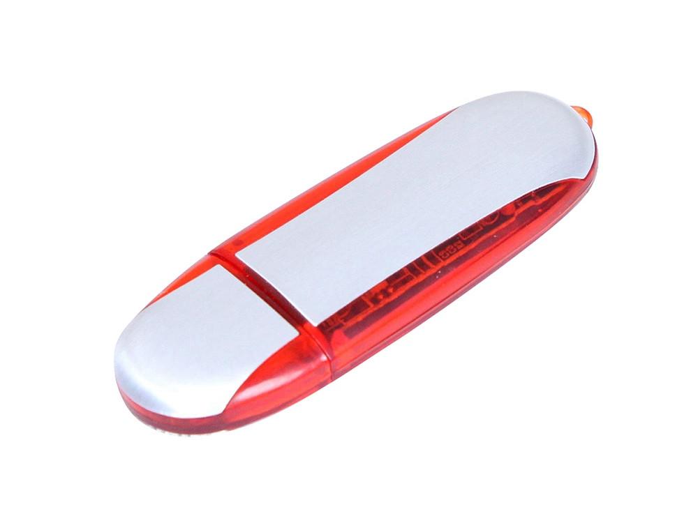 Флешка промо овальной формы, 16 Гб, серебристый/красный
