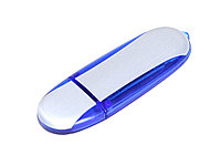 Флешка промо овальной формы, 32 Гб, серебристый/синий