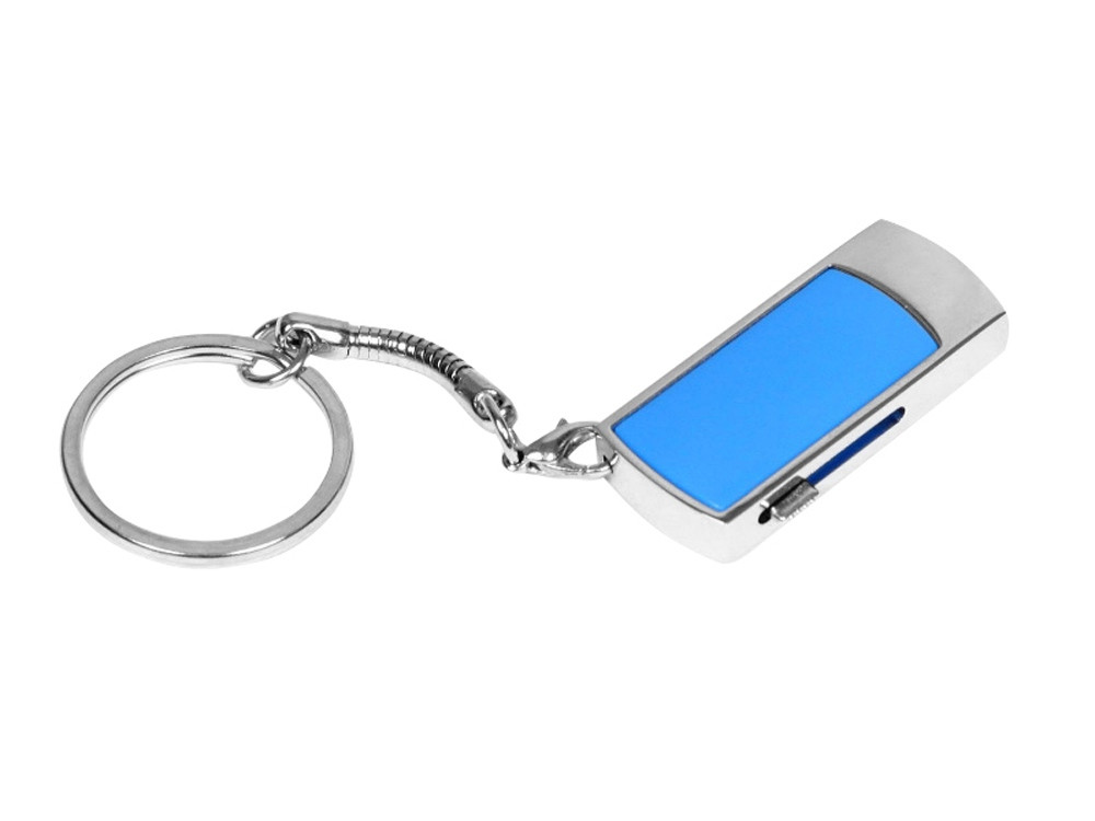 Флешка прямоугольной формы, выдвижной механизм с мини чипом, 32 Гб, синий/серебристый