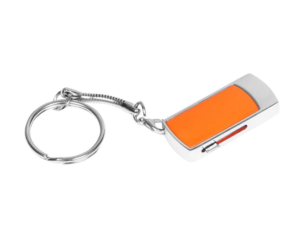 Флешка прямоугольной формы, выдвижной механизм с мини чипом, 32 Гб, оранжевый/серебристый