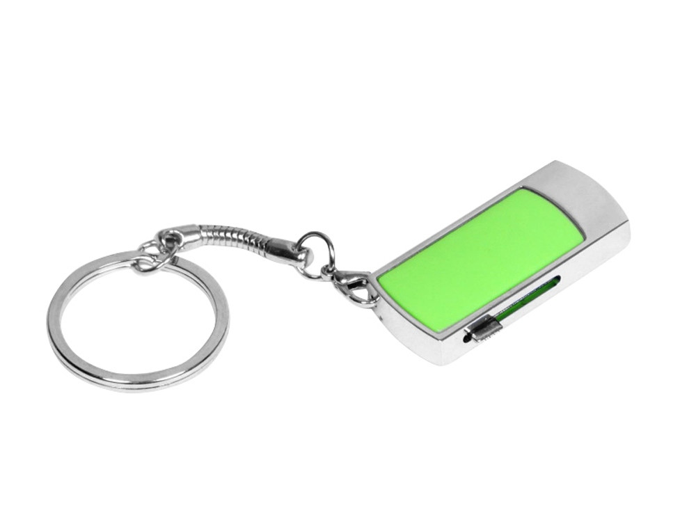 Флешка прямоугольной формы, выдвижной механизм с мини чипом, 64 Гб, зеленый/серебристый