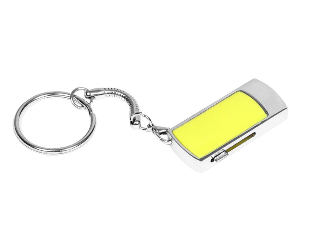 Флешка прямоугольной формы, выдвижной механизм с мини чипом, 64 Гб, желтый/серебристый