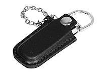 Флешка в массивном корпусе с кожаным чехлом, 32 Гб, черный