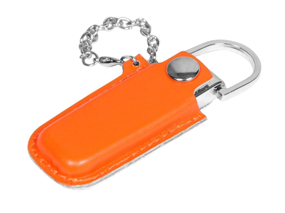 Флешка в массивном корпусе с кожаным чехлом, 64 Гб, оранжевый