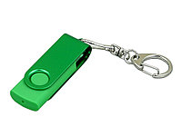 Флешка промо поворотный механизм, с однотонным металлическим клипом, 64 Гб, зеленый, фото 1