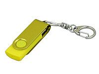 Флешка промо поворотный механизм, с однотонным металлическим клипом, 64 Гб, желтый, фото 1