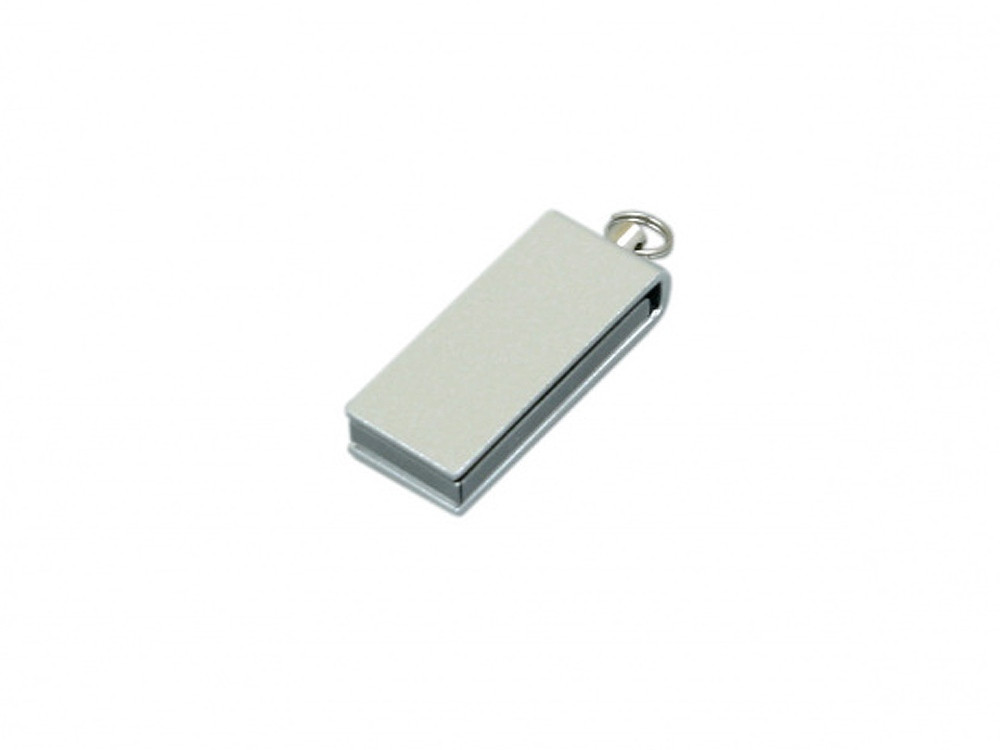 Флешка с мини чипом, минимальный размер, цветной  корпус, 64 Гб, серебристый