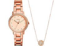 Подарочный набор: часы наручные женские, кулон. Fossil