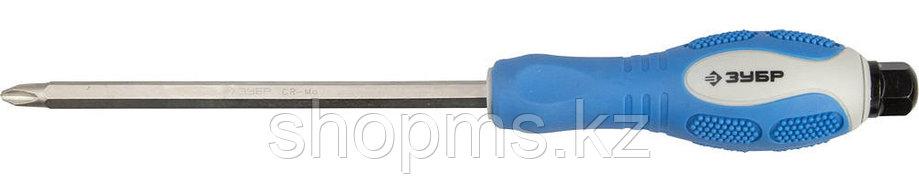 """Отвертка ЗУБР """"ПРОФИ АВТО"""" PH №2, 100мм, , ударная, сквозной Cr-Mo стержень с усилителем под ключ,, фото 2"""