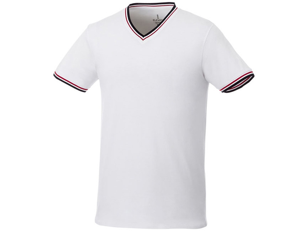 Мужская футболка Elbert с коротким рукавом, пике и кармашком, белый/темно-синий/красный