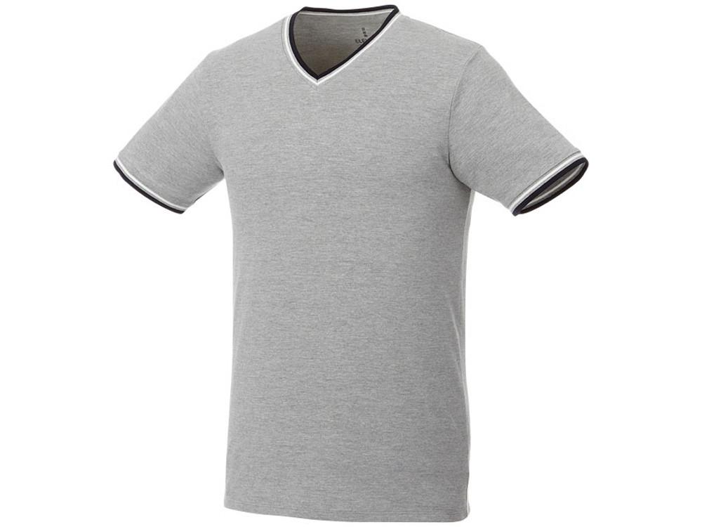 Мужская футболка Elbert из пике с коротким рукавом и кармашком, серый меланж/темно-синий/белый