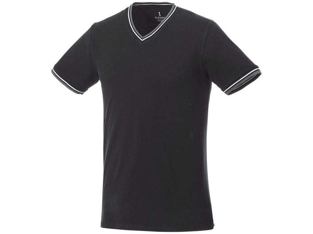 Мужская футболка Elbert из пике с коротким рукавом и кармашком, черный/серый меланж/белый