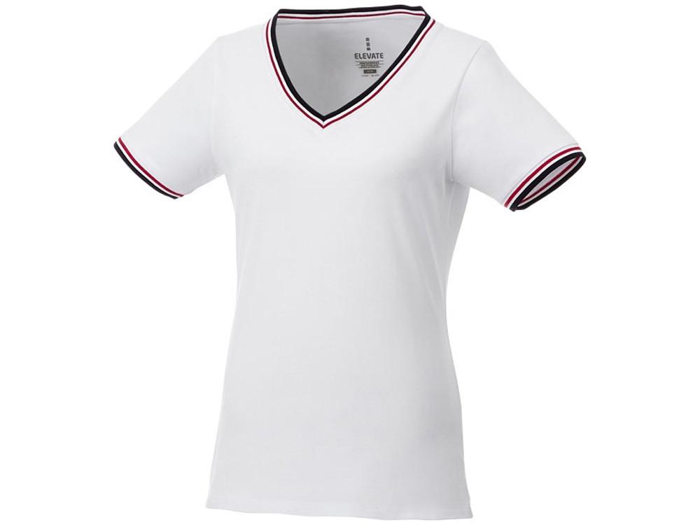Женская футболка Elbert из пике с коротким рукавом и кармашком, белый/темно-синий/красный