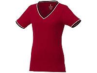 Женская футболка Elbert из пике с коротким рукавом и кармашком, красный/темно-синий/белый, фото 1