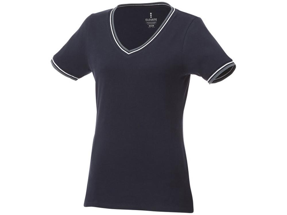 Женская футболка Elbert из пике с коротким рукавом и кармашком, темно-синий/серый меланж/белый