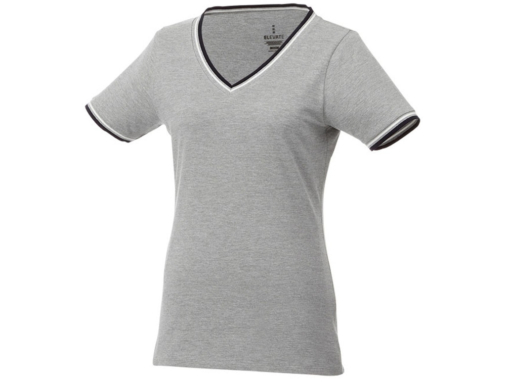 Женская футболка Elbert с коротким рукавом, серый меланж/темно-синий/белый (артикул 3802796XS)