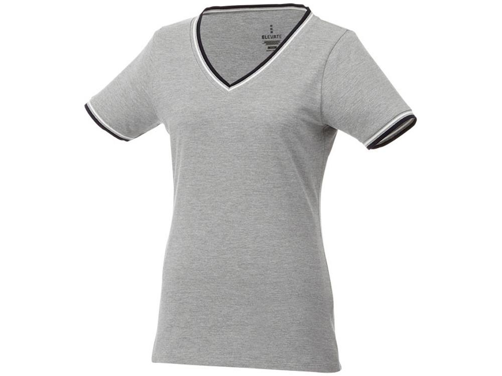 Женская футболка Elbert из пике с коротким рукавом и кармашком, серый меланж/темно-синий/белый
