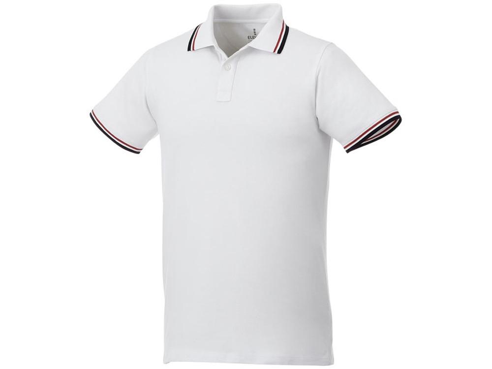 Мужская футболка поло Fairfield с коротким рукавом с проклейкой, белый/темно-синий/красный (артикул 3810201M)