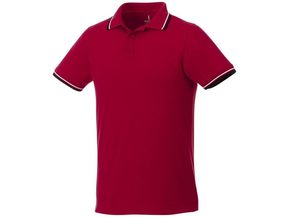 Мужская футболка поло Fairfield с коротким рукавом с проклейкой, красный/темно-синий/белый (артикул