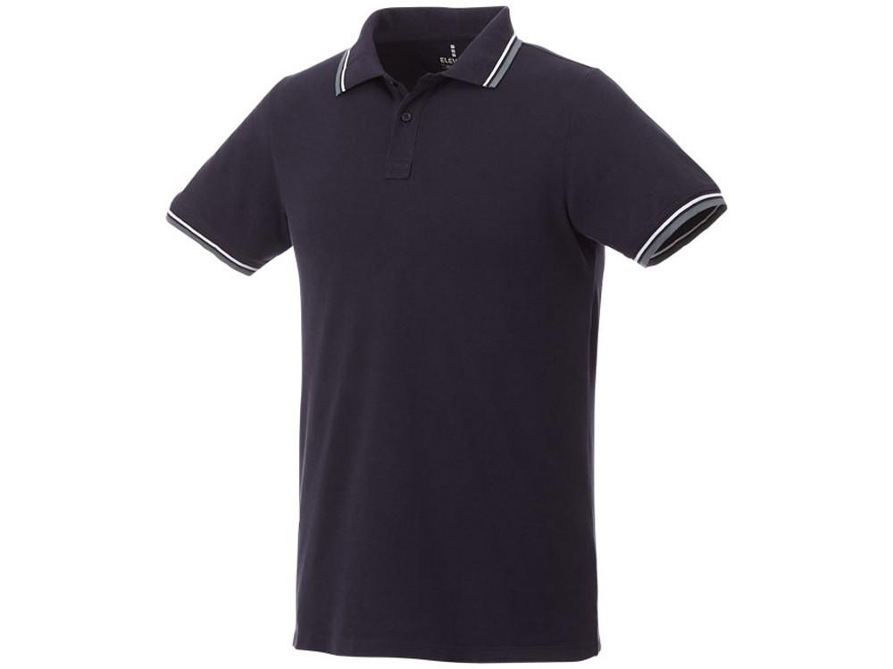Мужская футболка поло Fairfield с коротким рукавом с проклейкой, темно-синий/серый меланж/белый