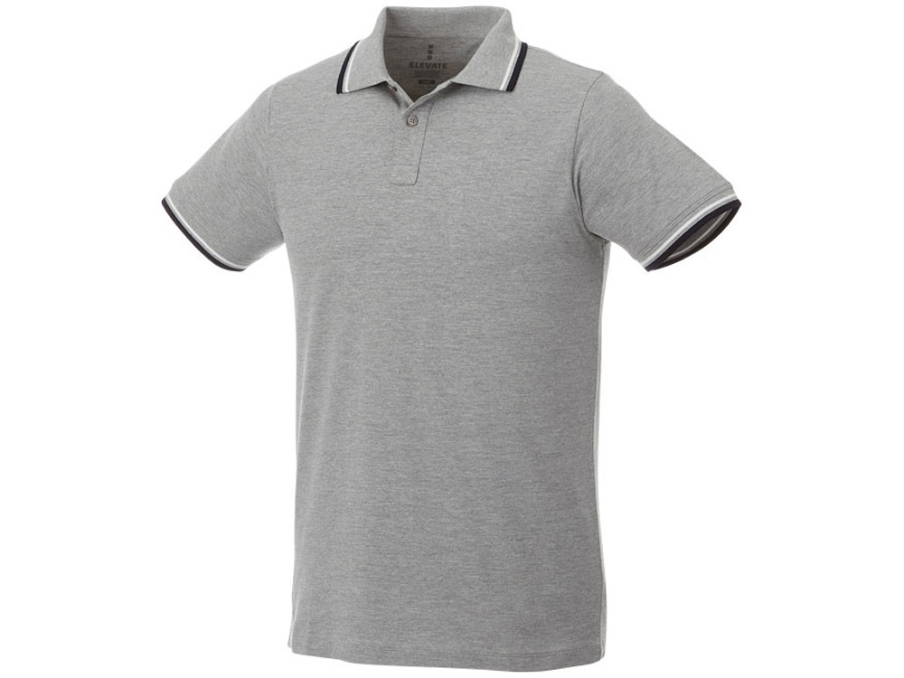 Мужская футболка поло Fairfield с коротким рукавом с проклейкой, серый меланж/темно-синий/белый (артикул