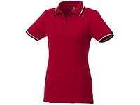 Женская футболка поло Fairfield с коротким рукавом с проклейкой, красный/темно-синий/белый, фото 1