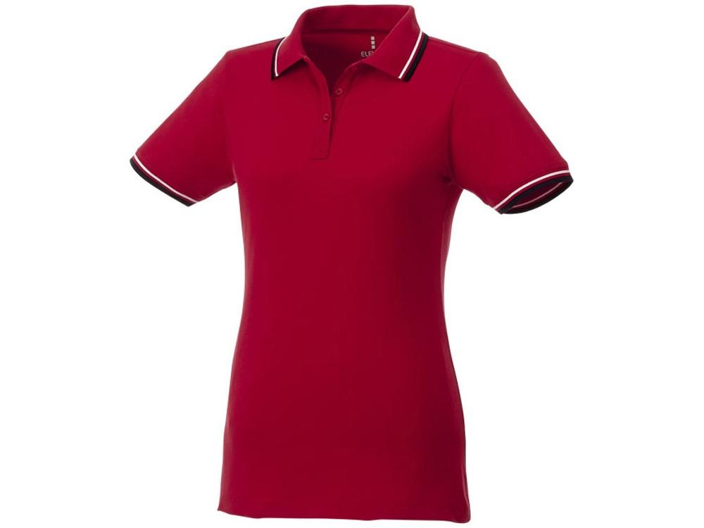 Женская футболка поло Fairfield с коротким рукавом с проклейкой, красный/темно-синий/белый