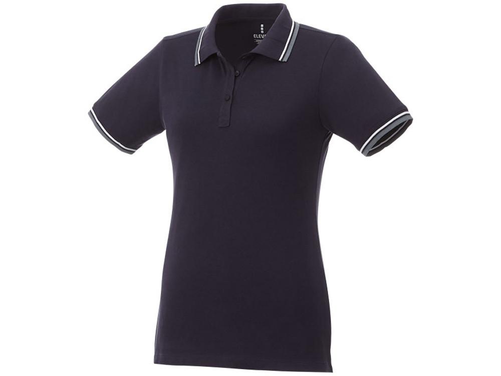 Женская футболка поло Fairfield с коротким рукавом с проклейкой, темно-синий/серый меланж/белый