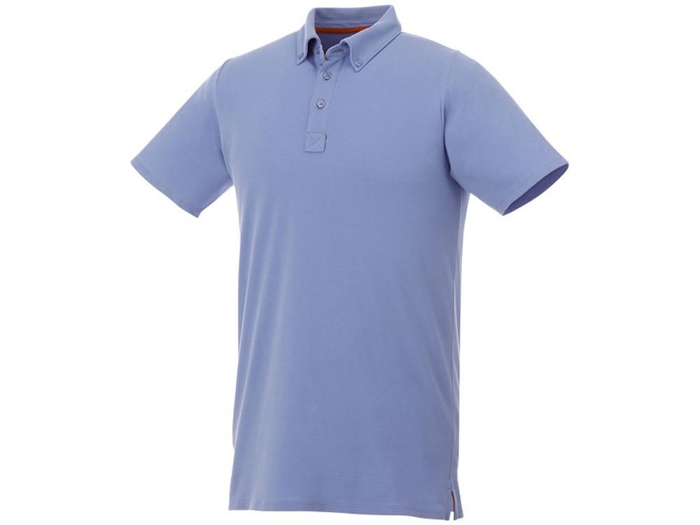 Мужская футболка поло Atkinson с коротким рукавом и пуговицами, светло-синий (артикул 38104403XL)