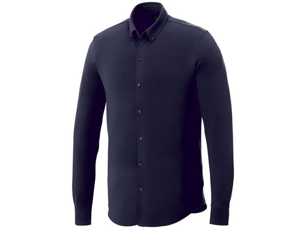 Мужская рубашка Bigelow из пике с длинным рукавом, темно-синий (артикул 3817649S)