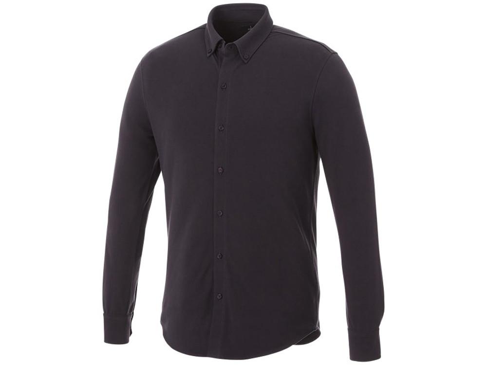 Мужская рубашка Bigelow из пике с длинным рукавом, серый графитовый (артикул 3817689S)