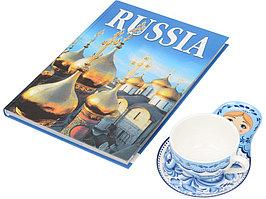Набор Моя Россия: чайно-кофейная пара Матрешка, гжель и книга Россия на англ. языке (артикул 18001)