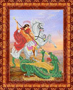"""Рисунок на ткани для вышивания бисером/крестом  """"Икона Св. Муч. Георгий Победоносец"""" КБИ-4095"""