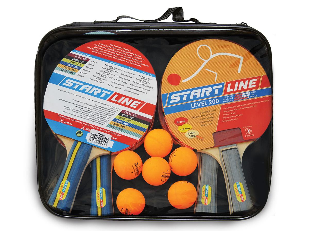 Набор START LINE: 4 Ракетки Level 200, 6 Мячей Club Select