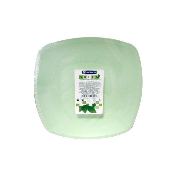 Тарелка квадратн.ЭКО, 230мм, плоск., салат., ПП, 6 шт