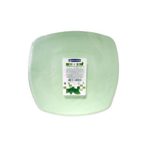 Тарелка квадратн.ЭКО, 230мм, плоск., салат., ПП, 6 шт, фото 2