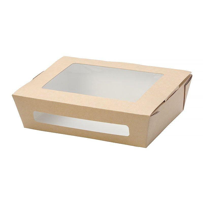 """Коробка """"DoEco"""" 190х150х50мм ECO SALAD 1000, с окном, коричн. (Салатник), 200 шт"""
