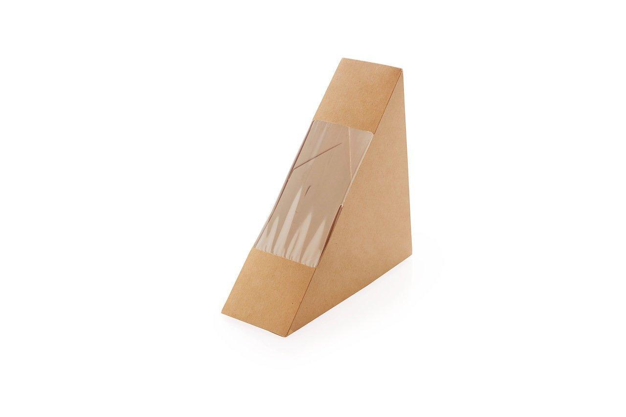"""Коробка """"DoEco"""" 130х130х60мм ECO SANDWICH 60, с окном, под сэндвичи, коричн., 800 шт"""