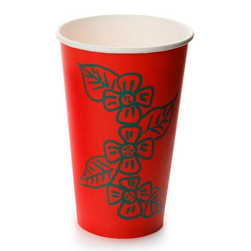 Стакан для холодного и горячего, 0.4/0.518л, дизайн рисуем мелом, красный, картон