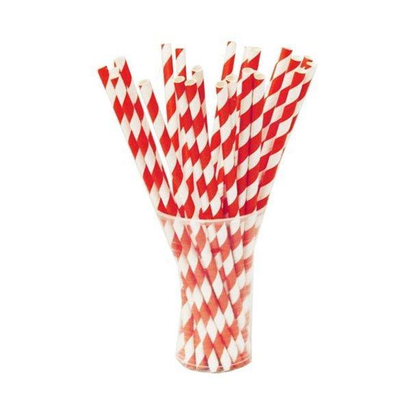 """Трубочки бумажные """"Леденец"""" цвет белый, красный """"d=6мм L = 195мм"""", 250 шт"""