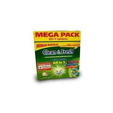 Таблетки для ПММ Clean&Fresh All in1 mega (60 табл.), 60 шт, фото 2