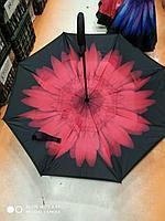 Зонт-наоборот, бордовый цветок
