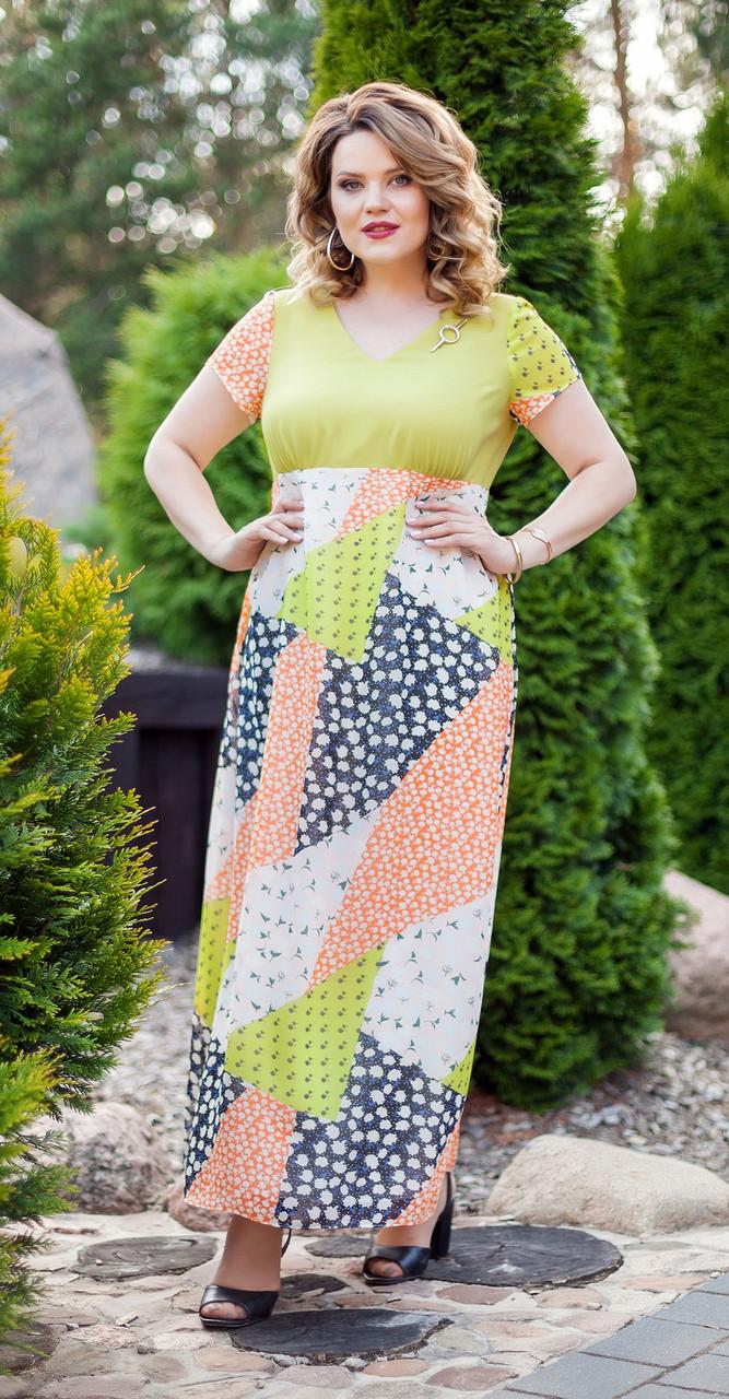 Платье TEZA-212/2, желтые тона, 50