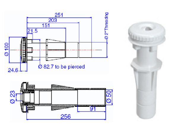 Возвратная форсунка с закладной трубой для бетона, d-50мм ТР 260