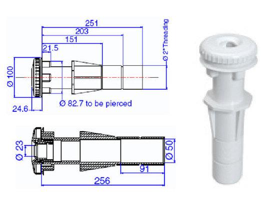 Возвратная форсунка с закладной трубой для бетона, d-50мм ТР 260, фото 2