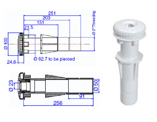 Форсунка для пылесоса с закладной трубой для бетона ТР 261, фото 2