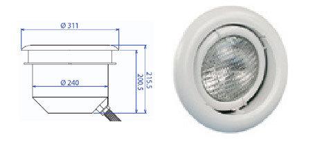 Прожектор встраиваемый, для пленки, поворотный, 300 Вт/12В, облицовка из пластика PL 96B M, фото 2
