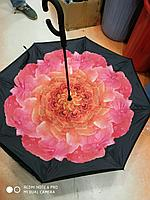 Зонт-наоборот, розовая роза