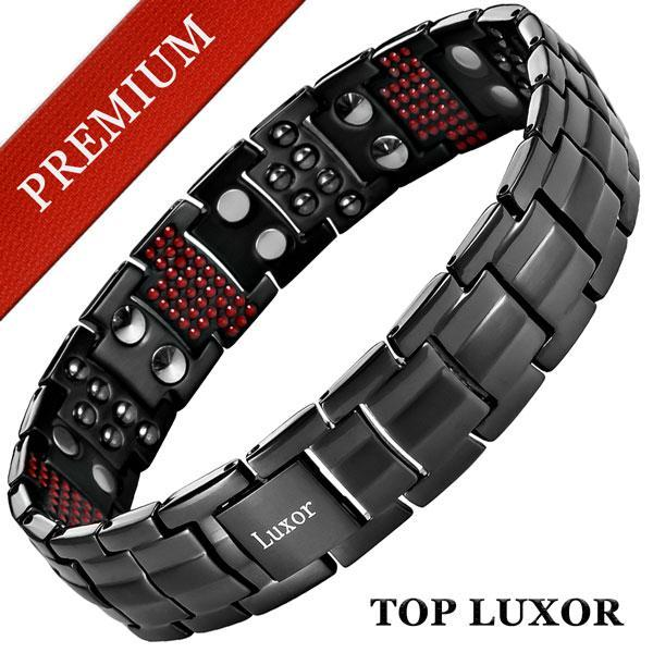 Титановый магнитный браслет Премиум Топ Люксор black