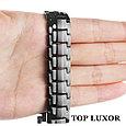 Титановый магнитный браслет Премиум Топ Люксор black, фото 5